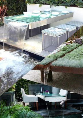 Best Wonderful Outdoor Dining Table with Waterfall Design