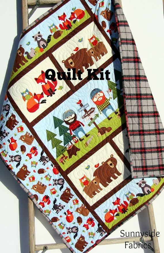 Lumberjack Quilt Kit FLANNEL Baby Boy Panel by SunnysideFabrics