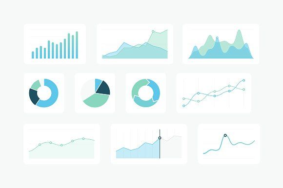 21 Vector Graphs & Charts (SVG) by Medialoot on @creativemarket