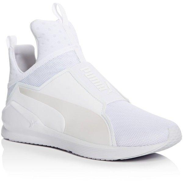 Fenty Puma x Rihanna Men's Fierce Core High Top Sneakers ($90) ❤ liked on Polyvore featuring men's fashion, men's shoes, men's sneakers, white, mens sneakers, mens high tops, mens white high tops, puma mens shoes and mens hi top sneakers