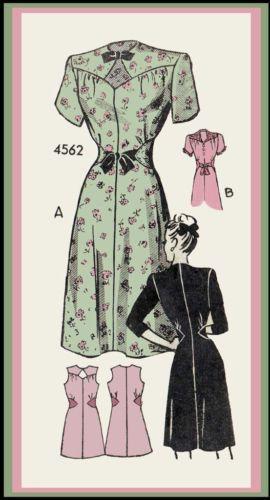 VINTAGE 1950'S ANNE ADAMS MAIL ORDER PATTERN-DRESS W/ UNUSUAL NECK & WAISTLINE