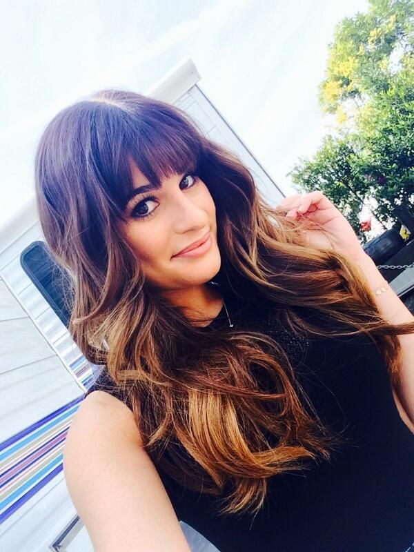 Dream hair = Brunette summer highlights and bangs with long hair on Lea Michele
