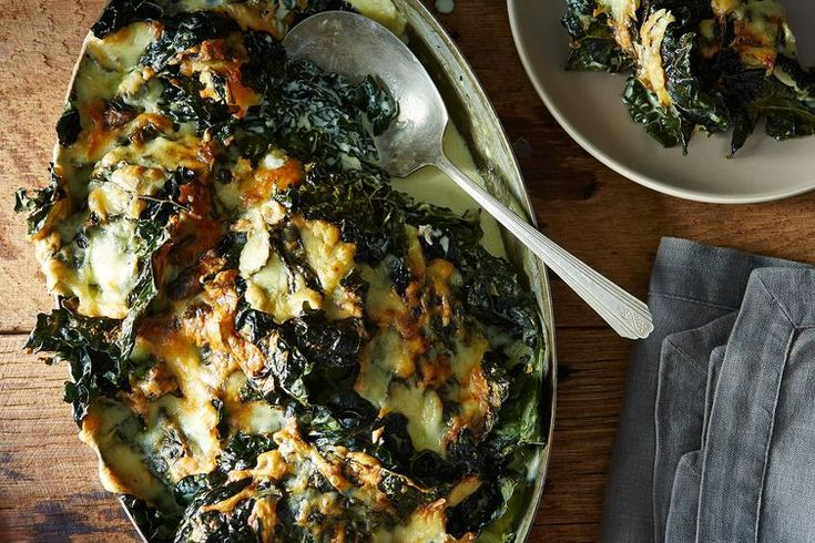 Lacinato Kale Gratin recipe: The bottom layer gets soft and creamy and the top becomes crispy, like a bunch of kale chips fused together with cheese.