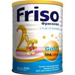 Фрисолак голд 2 - заменитель молока от 6 до 12 мес 900г  — 887р.  Заменитель Friso (Фрисо) Фрисолак 2 GOLD (ГОЛД) с 6 месяцев 900 гр.    В этом возрасте потребности растущего организма малыша сильно меняются. Смесь содержит все важные пищевые вещества, витамины и минералы, необходимые для гармоничного роста и развития ребенка. Если ребенок находится на естественном вскармливании, то смесь можно использовать для приготовления каш.    Особенности смесей Friso Фрисолак серии GOLD: …