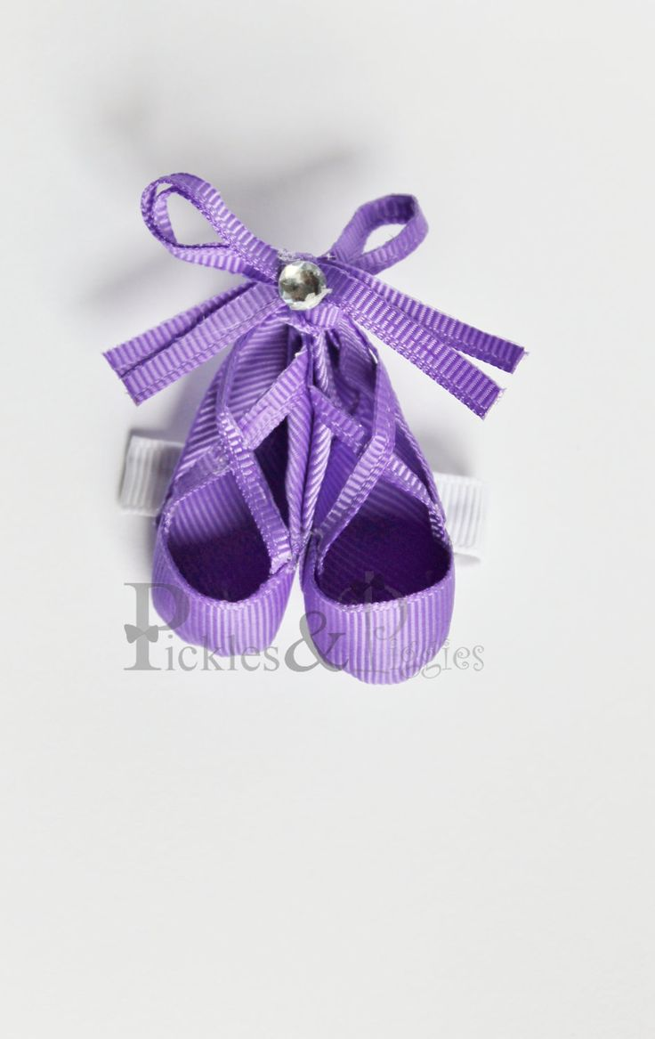 Ballerina Slippers Clippie Ribbon Sculpture Hair Bow. $6.00, via Etsy.