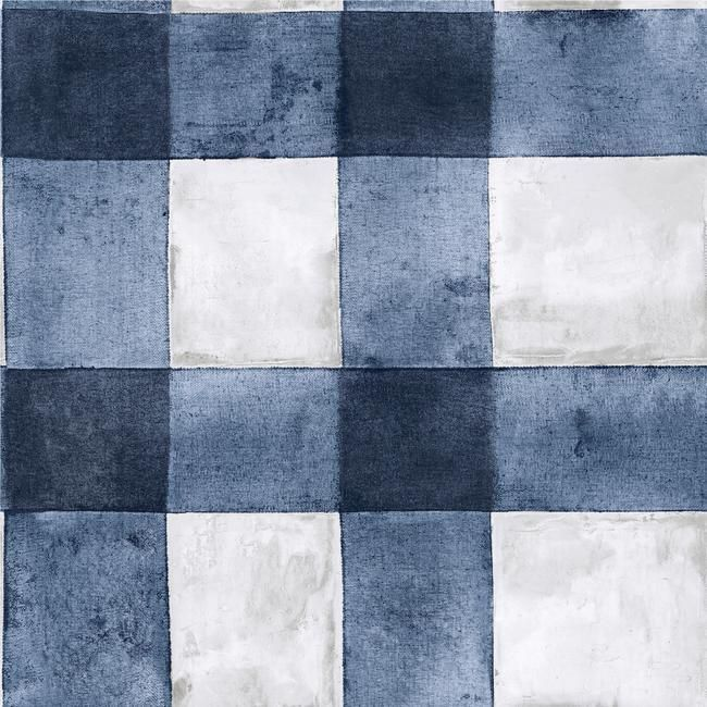 Buffalo Plaid Peel Stick Wallpaper In Blue By Roommates For York Wal In 2020 Peel And Stick Wallpaper Plaid Wallpaper Burke Decor