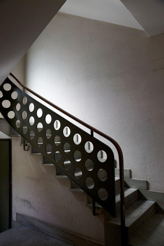 leslie williamson photo. Staircase in building which houses Piero Portoluppi's studio