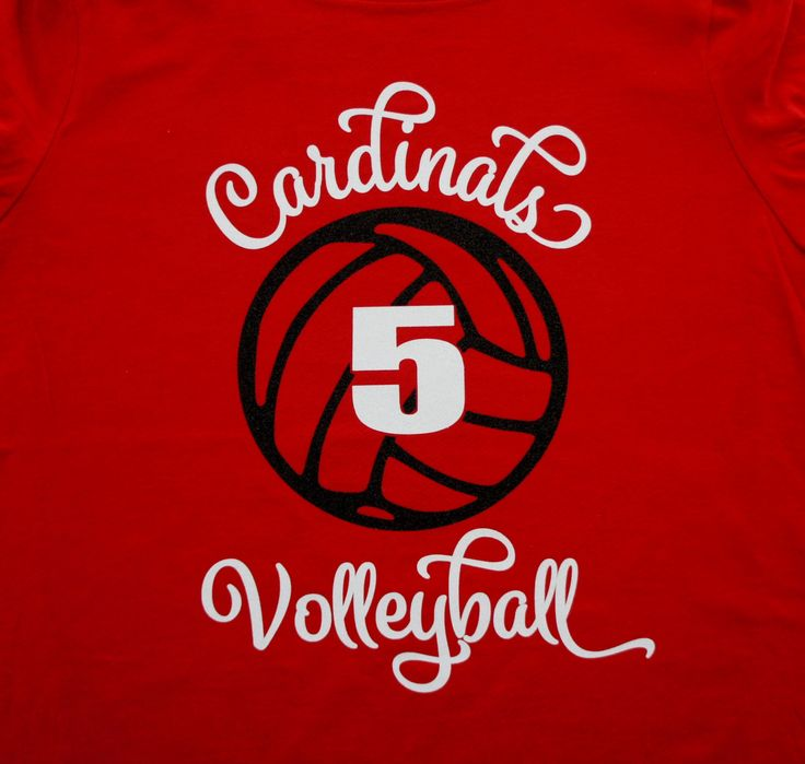 Volleyball Team Shirt with Player Number, Sweatshirt, Hoodie, Long Sleeves - Customize for your team name (Cardinals shown), colors & number by GlitterMomz on Etsy