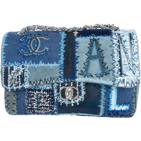 Pre-owned Chanel Denim Patchwork Jumbo Flap Bag ($3,395) ❤ liked on Polyvore featuring bags, handbags, shoulder bags, blue, chanel shoulder bag, blue shoulder bag, summer handbags, blue purse and summer purses