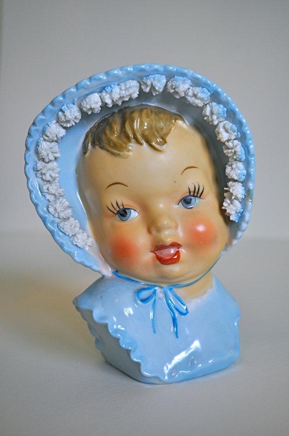 Vintage Ceramic Blue Baby Head Planter Vintage Baby