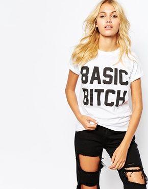 Adolescent Clothing Boyfriend T-Shirt With Basic Bitch Print