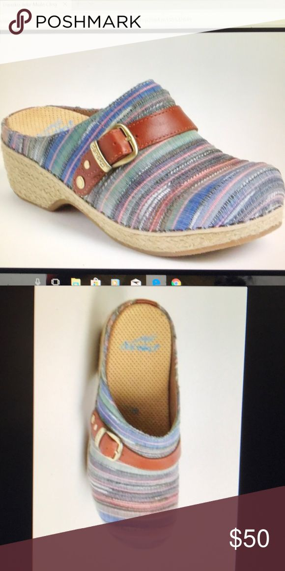 Dansko Jute Mule Clog Artisan Weave 38 US 7.5 to 8 Dansko Women's Jute Mule. A rich, tapestry of color, accented with a bold leather decorative strap and buckle finish off the jute wrapped mule sole. MSRP $120 Worn once and in PERFECT condition. Stock photos Dansko Shoes Mules & Clogs