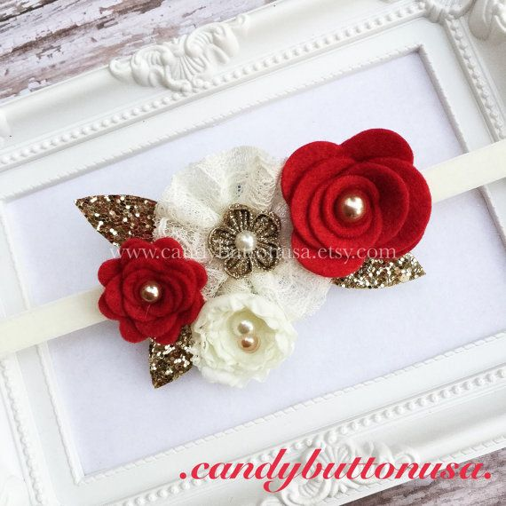Christmas Headband, Red Gold Headband, Gold Baby Headband, Holiday Baby…