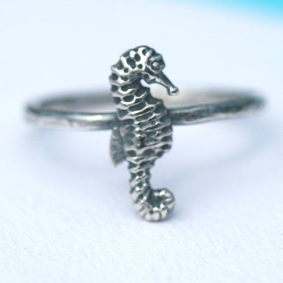 Sea Horse Ring in Fine and Sterling Silver Oxidized US Size 4.5 by Maggie McMane Designs on Etsy, $28.00