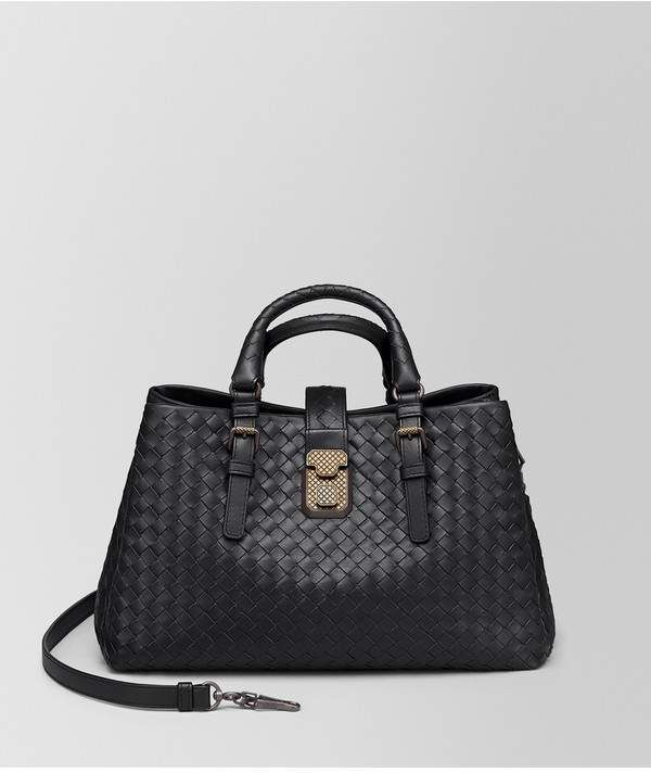 67f2b4c8861e Bottega Veneta Dark Barolo Intrecciato Calf Small Roma Bag ...