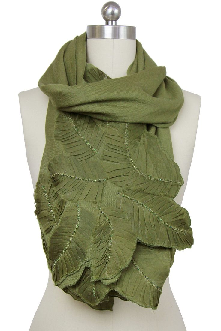 Saachi | Forest Green Beaded Leaf Wool Wrap | Nordstrom Rack  Sponsored by Nordstrom Rack.