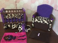 Barbie Or Monster High.Baby Nursery Set furniture crib & sofa & Carrier.Clawdeen