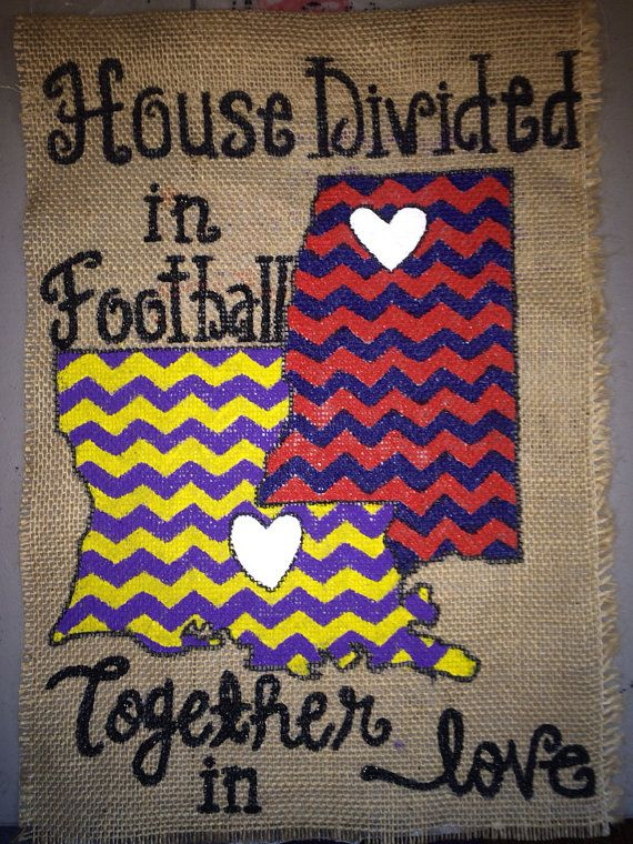 House Divided Burlap Garden Flag- Personalized on Etsy, $25.00