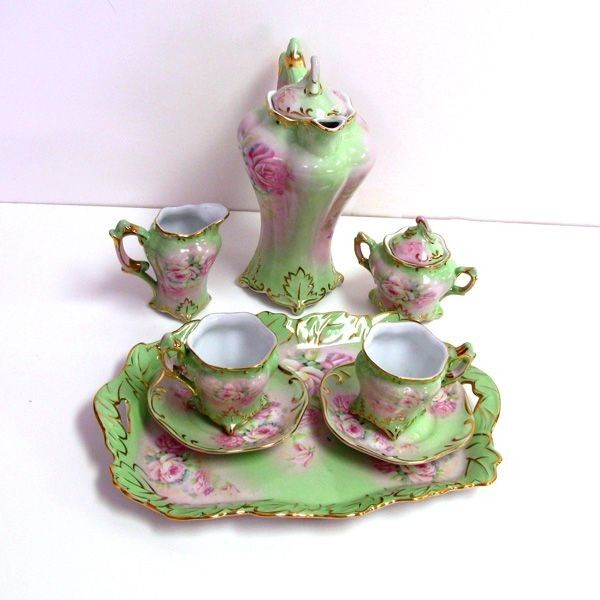 limoges china | Limoges China Green Tea Set w/Tray 8 pc. : Lot 85