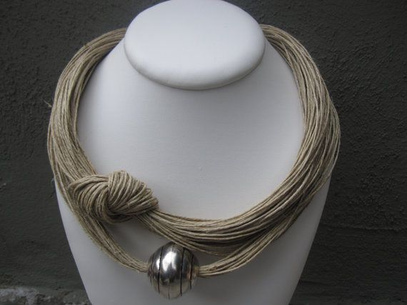 Necklace Linen Eco-Friendly Thread Knots Metal Silver Xl Pearl Magnetic clasp Mediterranean Style handmade