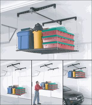 The Heavy Lift Storage Hoist Has A Platform For Garage Ceiling Storage Of  Boxes Furniture And More.