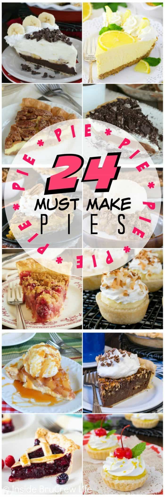 24 Must Make Pie Recipes - here are 24 of the best pies that would impress anyone at dinner. You will find fruit, cream, cheesecake, chocolate, and mini pie recipes that need to happen in your kitchen. #pie #thanksgiving #dessert