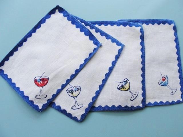 1950s Vintage COCKTAIL Napkins Set Printed Linen Cocktails TableWare BarWare Linens