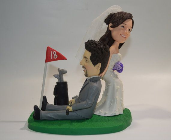 Golf Wedding Cake Topper Fimo Funny Topper By Alxetopper On Etsy