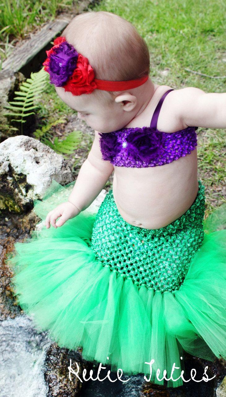 The Little Mermaid Tutu dress, crochet top with mermaid tail, Halloween Costume, baby girl, infant, toddler 0-3, 3, 6, 9, 12, 24, 2t. $35.00, via Etsy.