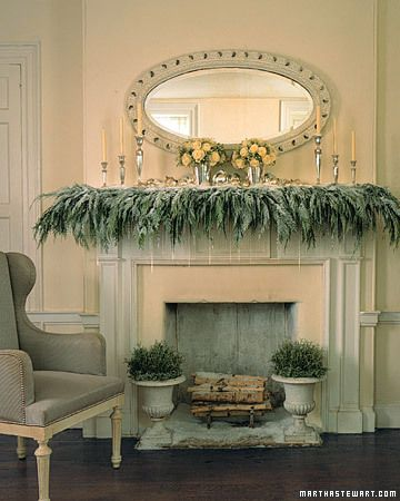 cedar dripping from mantel- glass icicles - faux snow drifts
