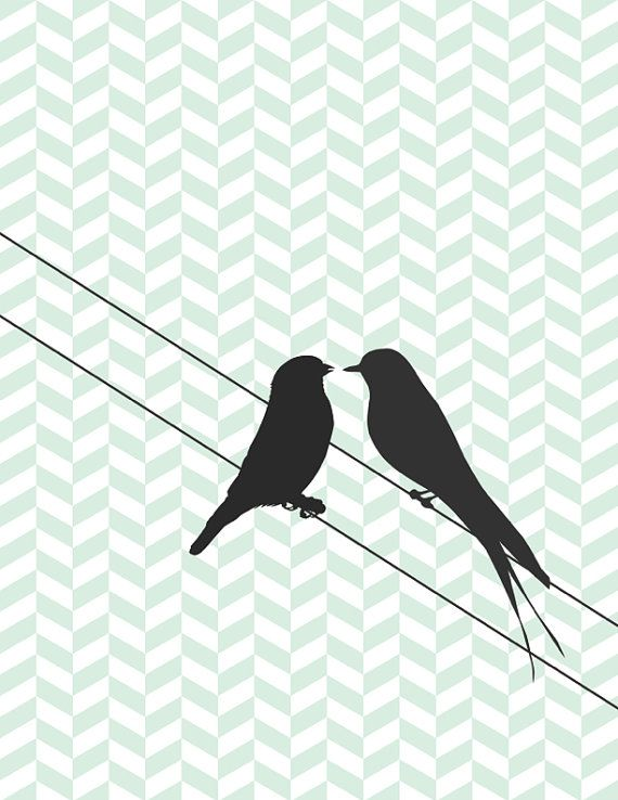 Bird Silhouette Love Birds Sitting on a Wire Chevron ...