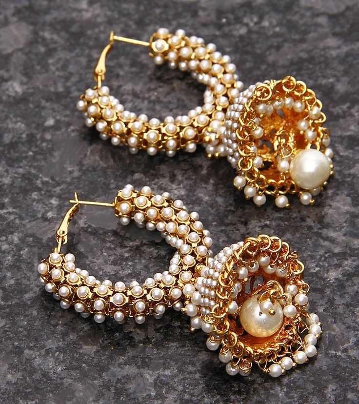 Golden Embellished Earrings