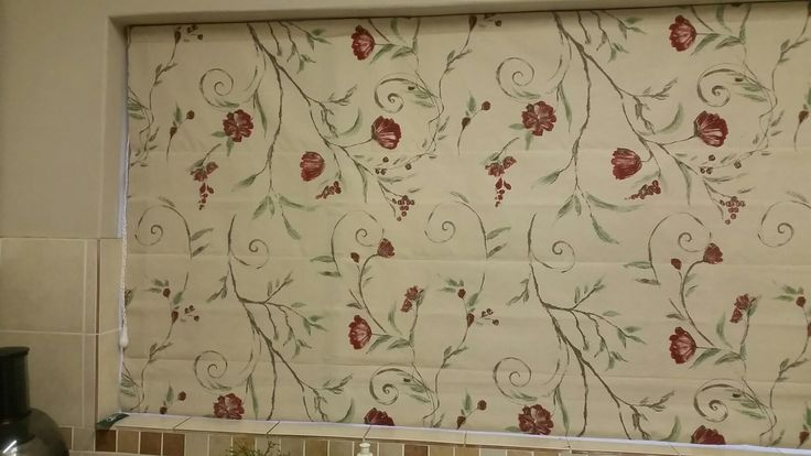 Detail of roman blind for kitchen