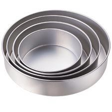 Performance Pans™ Round Pan Set, 3 in. Deep  Set includes 8, 10, 12, 14 in. pans. Quality aluminum holds its shape for years. Each pan is 3 in. deep.  A heating core (stock # 417-6100) is recommended for 10-inch diameter or larger pan.