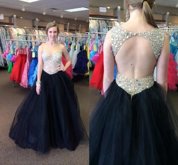 Black Prom Dresses,Backless Evening Gowns,Sexy Formal Dresses,Beading Prom Dresses,Sequins Evening Gown,Open Backs Evening Dress,Black Tulle Prom Dresses PD20184416