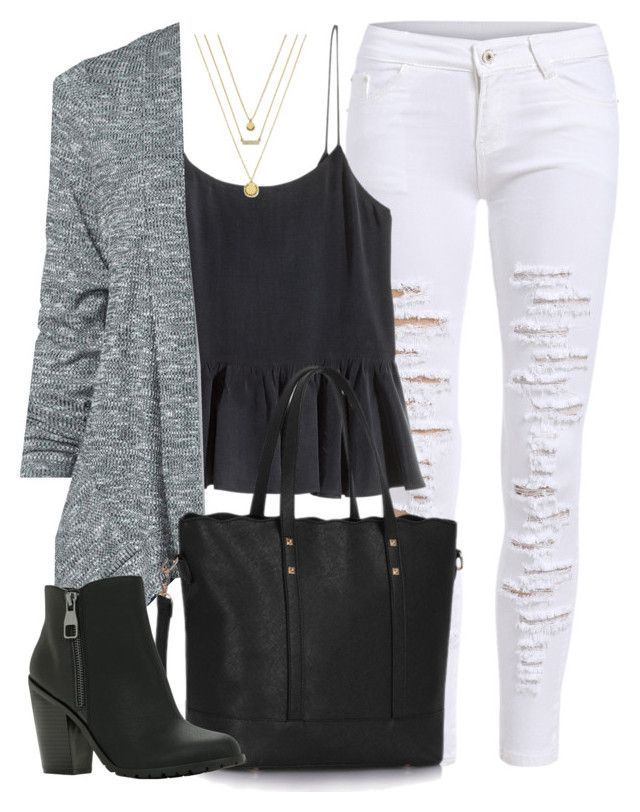 """""""Edgy Hanna Marin inspired outfit with white ripped jeans"""" by liarsstyle ❤ liked on Polyvore featuring H&M, St. John's Bay, Call it SPRING, BCBGeneration, travel, college and mid"""