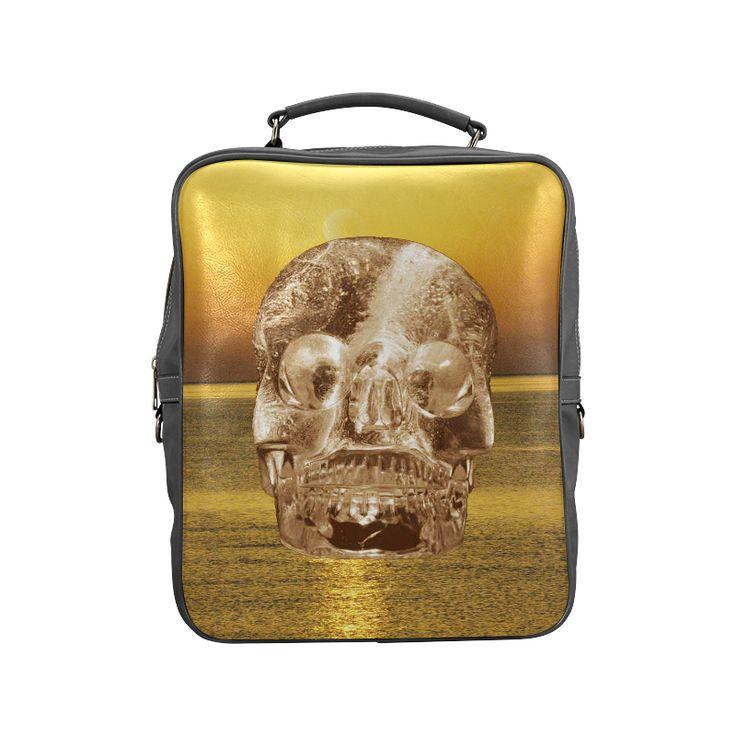 Crystal Skull Gold Square Backpack (Model1618)