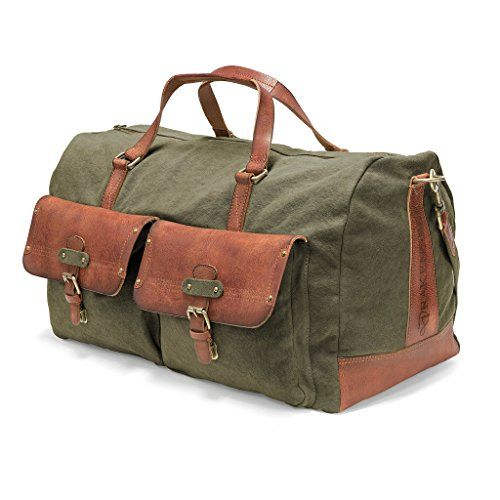 DRAKENSBERG Kimberley Long Weekender, Reisetasche, groß, Canvas, Leder, Reisegepäck, Vintage, Safarilook, grün, oliv, braun