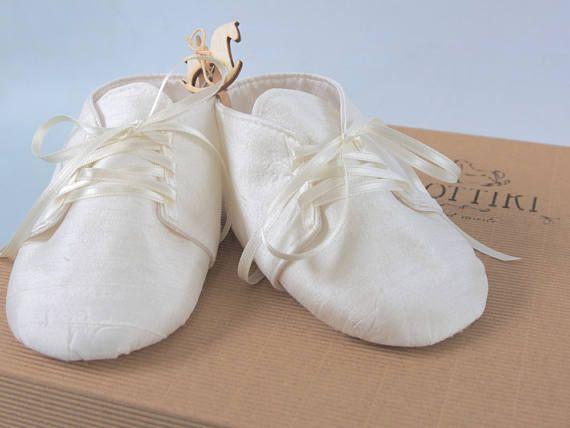 Baby Christening Dupioni Silk Shoes  Baptism Booties   Baby #dottiki, #christienigshoes, #babyshoes, #silkshoes, #babygift #personalisedshoes