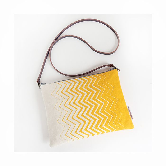yellow chevrons ombre print bag. screenprinted by hand