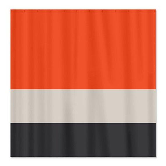Custom Color Block Shower Curtain Tangerine Tango Light Tan