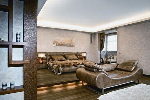 Contemporary african style living room with bedroom