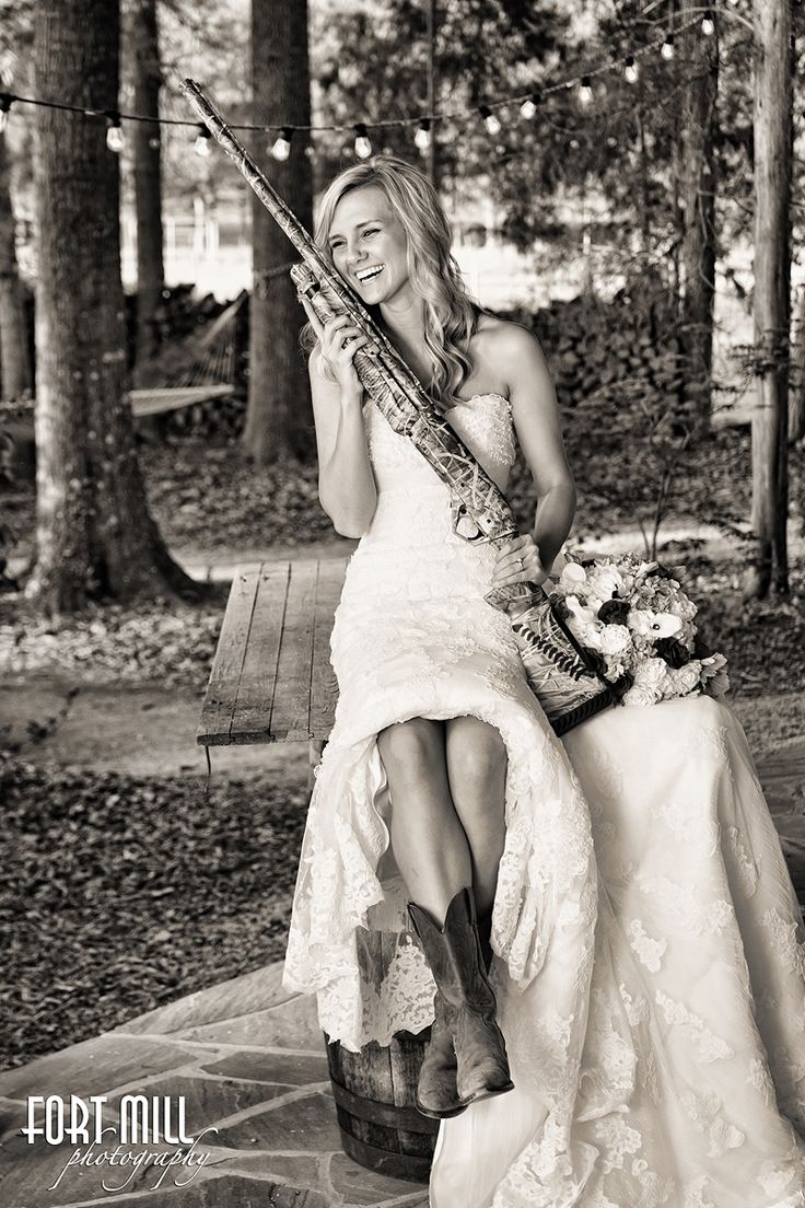 Country Girls Bridal Session © Fort Mill Photography #brideswithguns #rusticbridal #bridesinboots