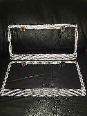 2X Metal License Plate Frame Bling RhineStones Chrome Swarovski Crystal Diamond