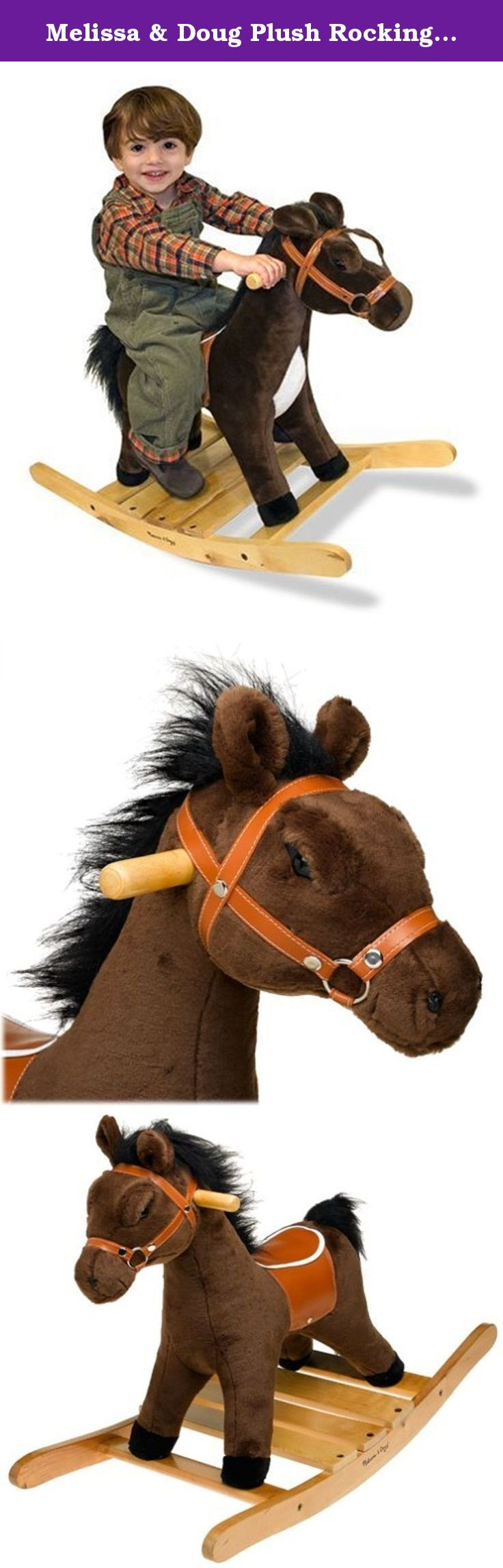 Melissa & Doug Plush Rocking Horse - Wooden Base and Handles Plus Saddle and Harness. Whoa! Here is a sturdy, lovable rocking horse featuring ultra-soft fur and a realistic saddle and bridle. Ready to ride, it makes galloping sounds when its ear is pressed! Easily mounted on a solid wood, rocking base that accommodates up to 150 pounds, its excellent quality construction and attention to detail, includes easy grasp wooden handles. This fabulous riding toy is destined to be a family…