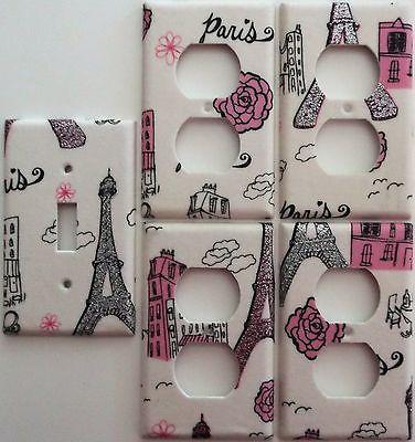 Paris Eiffel Tower Pink Glitter light switch cover Girls Bedroom wall decor set