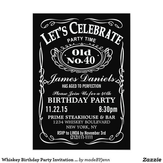 Jack Daniels Whiskey Birthday Party Invitation