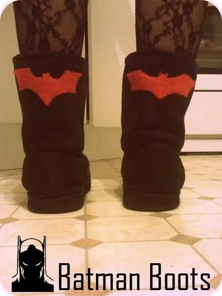 Add Felt cutouts to your ugg boots. I made mine Batman
