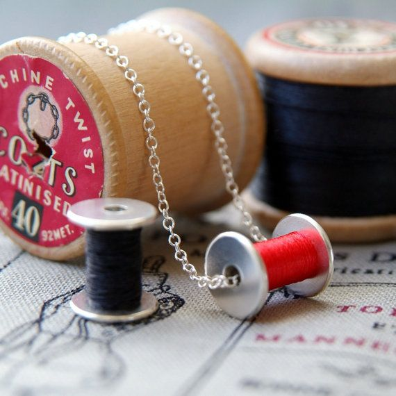 cotton reel necklace bobbin for seamstress in Silver with sewing thread ANY COLOUR