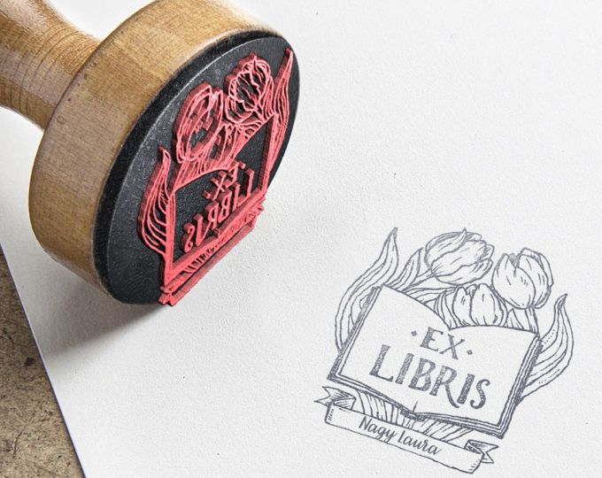 """EX LIBRIS Stamp, """"Book and flowers"""" Name Stamp, Gift Stamp, Logo Stamp, Custom Rubber Stamps 42x42 mm"""